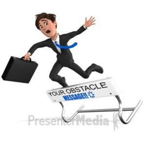 ID# 21639 - Businessman Hurdle Fail - Presentation Clipart