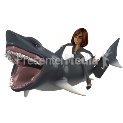 Businesswoman Shark PowerPoint Clip Art
