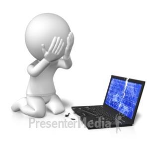 ID# 21658 - Sad Broken Computer - Presentation Clipart