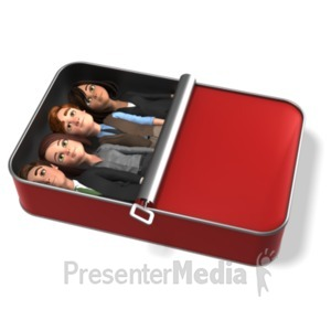 ID# 21666 - Business People Packed Like Sardines - Presentation Clipart