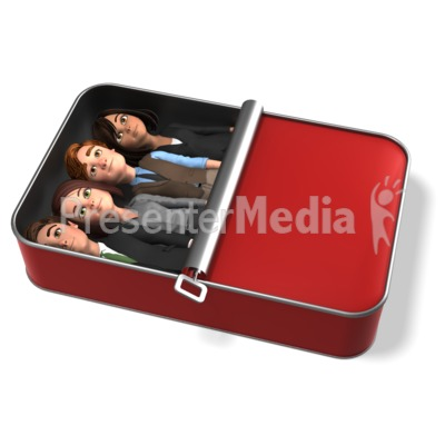 Business People Packed Like Sardines PowerPoint Clip Art