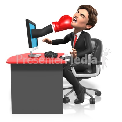 Business Punched Through Screen PowerPoint Clip Art