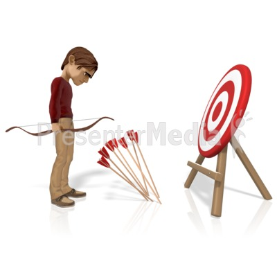 Man Miss Target With Arrows PowerPoint Clip Art