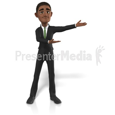Businessman Gesturing To Side PowerPoint Clip Art