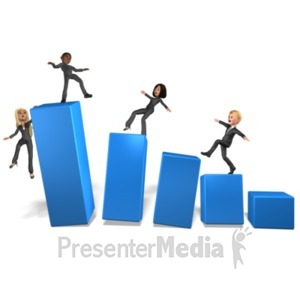 ID# 21721 - Team On Wobbly Bar Graph - Presentation Clipart