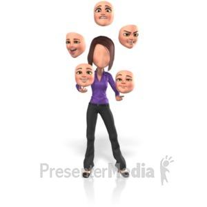 ID# 21733 - Yolanda Juggle Faces - Presentation Clipart