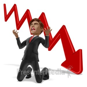ID# 21739 - Businessman Despair Graph - Presentation Clipart