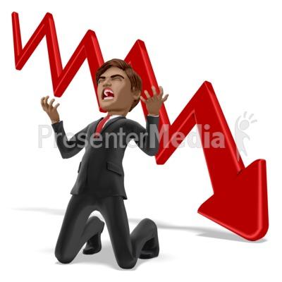 Businessman Despair Graph PowerPoint Clip Art