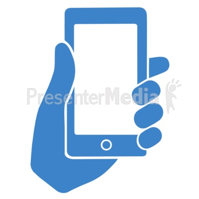 Hand Holding Phone Outline PowerPoint Clip Art