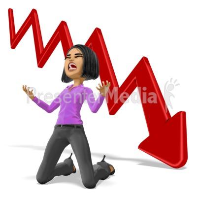 Business Woman Despair Graph PowerPoint Clip Art