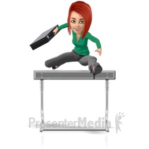 ID# 21759 - Business Woman Briefcase Hurdle - Presentation Clipart