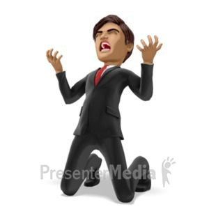 ID# 21762 - Businessman On Knees In Despair - Presentation Clipart