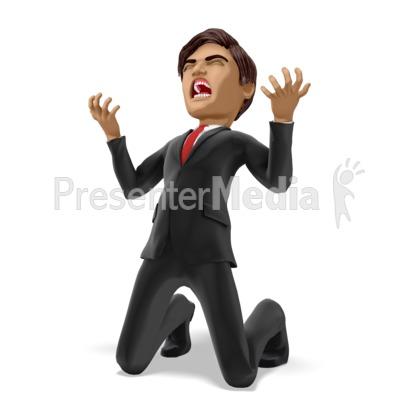 Businessman On Knees In Despair PowerPoint Clip Art