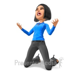 ID# 21763 - Business Woman On Knees In Despair - Presentation Clipart