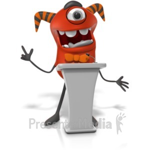 ID# 21765 - Monster Behind Podium - Presentation Clipart