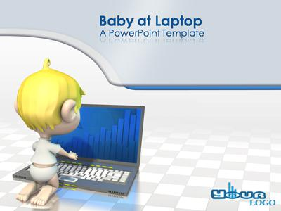 ID# 310 - Baby At Laptop - PowerPoint Template