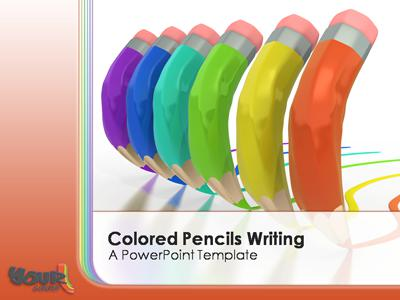 ID# 315 - Colored Pencils Writing - PowerPoint Template