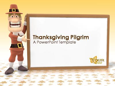 Thanksgiving pilgrim a powerpoint template from presentermedia powerpoint template toneelgroepblik Image collections