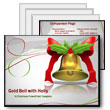 ID# 387 Gold Bell with Green Holly PowerPoint Template