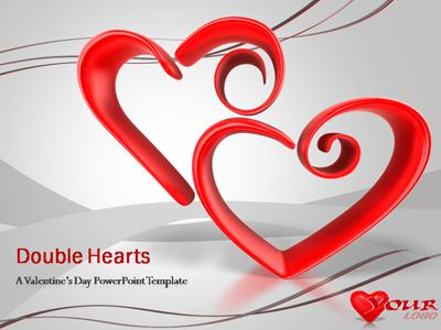 ID# 391 - Double Hearts - PowerPoint Template