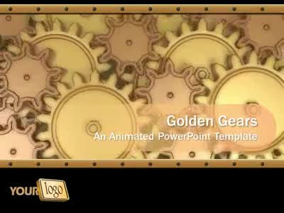ID# 415 - Golden Gears - PowerPoint Template