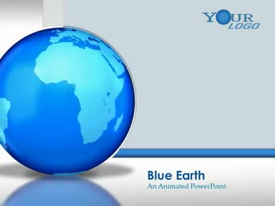 ID# 1929 - Blue Glossy Earth  - PowerPoint Template