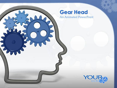 head outline with gears - a powerpoint template from, Modern powerpoint