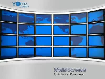 ID# 2265 - World Screen Map - PowerPoint Template