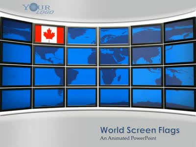 ID# 2335 - World Screen Flags - PowerPoint Template