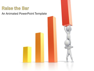 Teamwork Raise Bar Graph PowerPoint Template