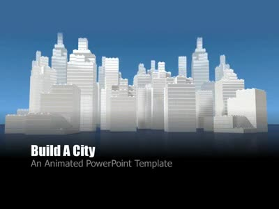 build a city  a powerpoint template from presentermedia, Powerpoint