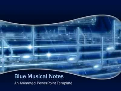 Blue Musical Notes - A Powerpoint Template From Presentermedia.Com