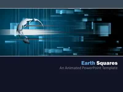 ID# 4435 - Earth Squares - PowerPoint Template