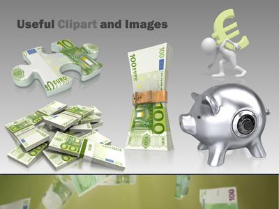 euro money falling - a powerpoint template from presentermedia, Modern powerpoint