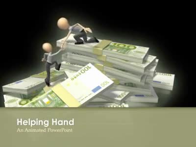 ID# 5111 - Helping up Euro Money Stack - PowerPoint Template