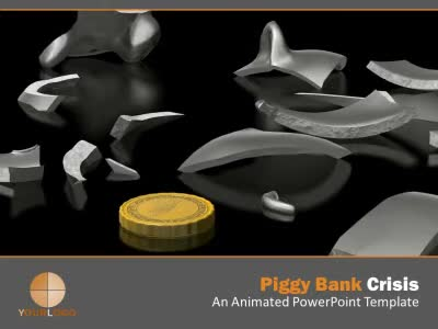 ID# 5492 - Piggy Bank Crisis - PowerPoint Template