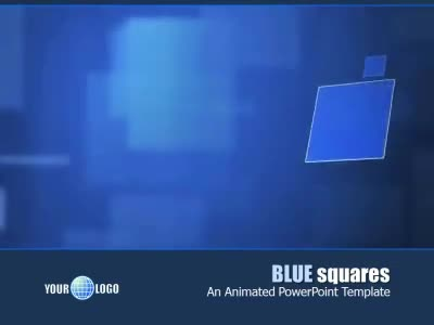ID# 6098 - Blue Squares - PowerPoint Template