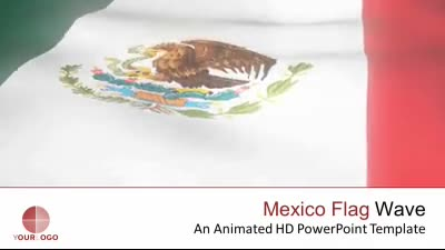 ID# 7350 - Mexico Flag Wave - PowerPoint Template