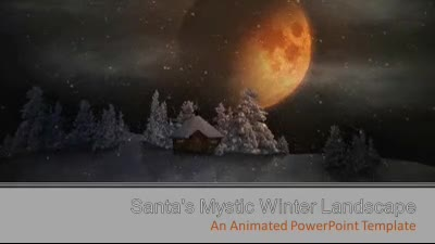 ID# 7356 - Mystic Winter Landscape With Santa - PowerPoint Template