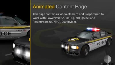 police cars flash - a powerpoint template from presentermedia, Modern powerpoint