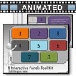 ID# 7582 Eight Interactive Panels Tool Kit PowerPoint Template