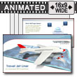 Jet Airplane with Travel Map PowerPoint template