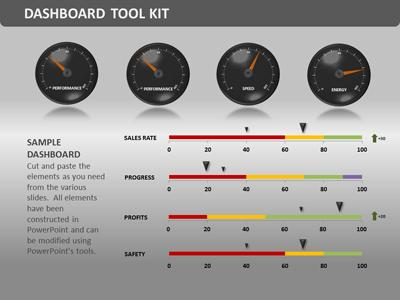 dashboard tool kit - a powerpoint template from presentermedia, Powerpoint templates