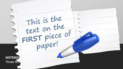 notebook paper scraps - a powerpoint template from presentermedia, Modern powerpoint