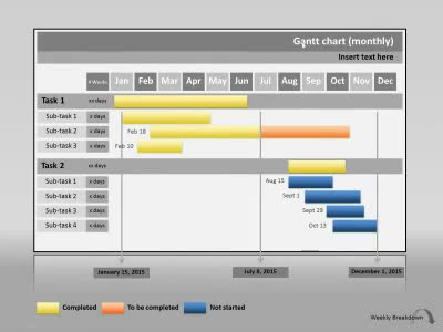 ID# 14394 - Gantt Chart Project Progress - PowerPoint Template