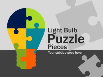 ID# 16038 - Light Bulb Puzzle Pieces - PowerPoint Template