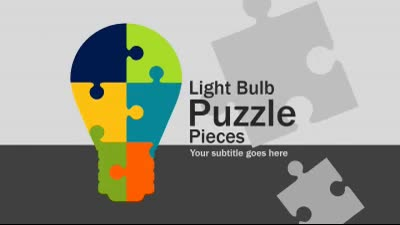 ID# 16041 - Light Bulb Puzzle Pieces - PowerPoint Template