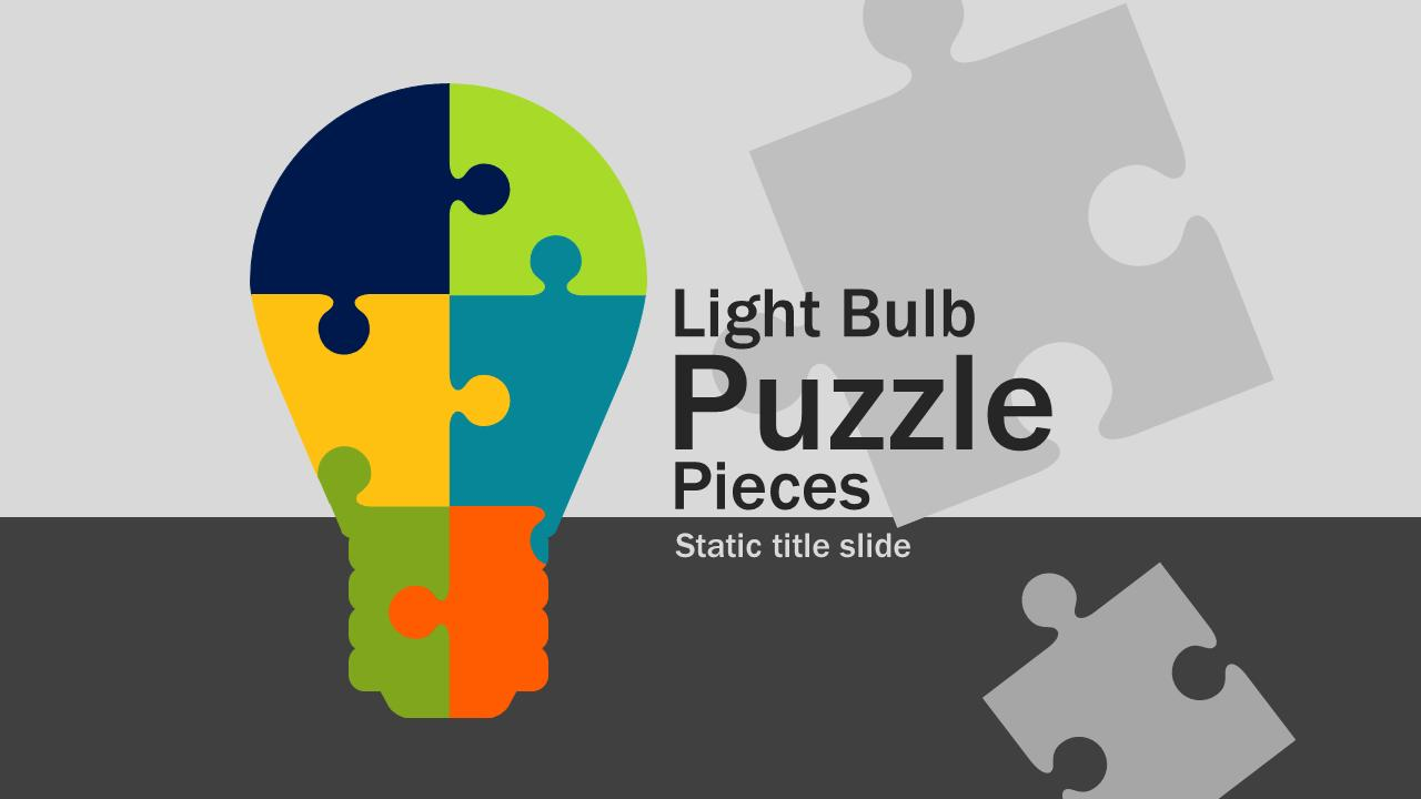 light bulb puzzle pieces - a powerpoint template from, Powerpoint templates
