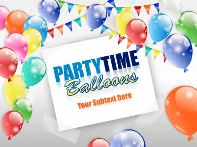 ID# 17278 - Party Time Balloons - PowerPoint Template