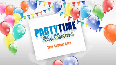 ID# 17279 - Party Time Balloons - PowerPoint Template